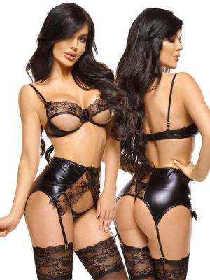 Beauty Night 'narine' Open-cup Wet-look Bra, Garter Belt & Thong Set