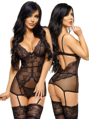 Beauty Night 'marion' Deep Cleavage Lace Chemise & Thong Lingerie Set
