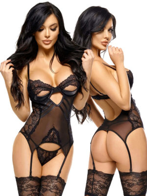 Beauty Night 'charlize' Open-cup Wetlook And Lace Corset & Thong Set