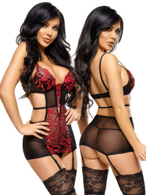 Beauty Night 'evangelina' Ruby Red Floral Embroidery Chemise & Thong Set