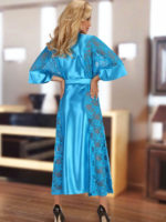 Beauty Night Bouquet Satin & Lace Long Gown And Thong Set (turquoise)