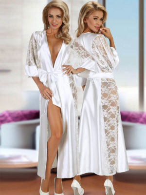 Beauty Night Bouquet Satin & Lace Long Gown And Thong Set (white)