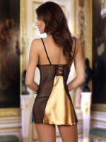 Beauty Night Michele Satin & Lace Chemise And Thong Set (gold)