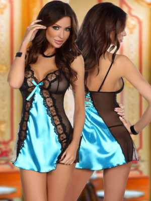 Beauty Night Michele Satin & Lace Chemise And Thong Set (turquoise)