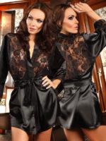 Beauty Night Prilance Satin & Lace Robe And Thong Set (black)