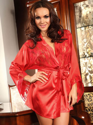 Beauty Night Prilance Satin & Lace Robe And Thong Set (red)