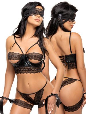 Beauty Night Shaquila Erotic Lace And Wetlook Lingerie Set