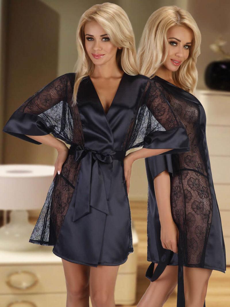 Beauty Night Stephanie Satin & Lace Robe And Thong Set (black)