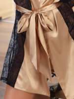 Beauty Night Stephanie Satin & Lace Robe And Thong Set (gold)