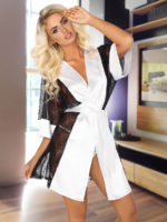 Beauty Night Stephanie Satin & Lace Robe And Thong Set (white)