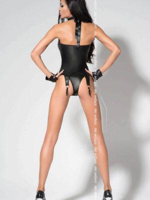 Me Seduce 'catty' Erotic Fantasy Wet Look Garter Corset Set (black)