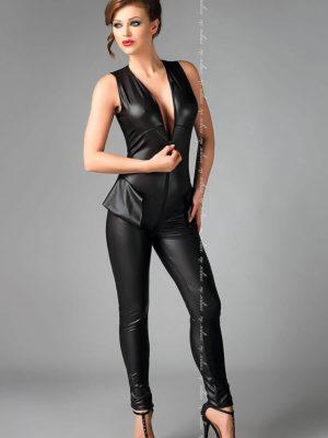 Me Seduce 'debby' Erotic Fantasy Wet Look Catsuit (black)