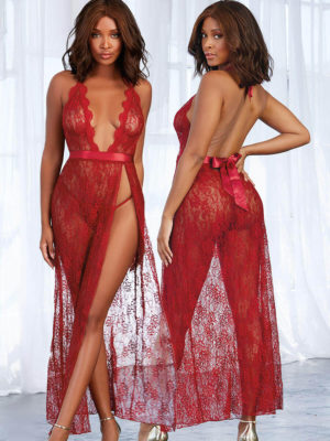Dreamgirl Garnet Red Lace Long Gown And G-string Set