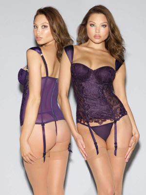 Dreamgirl Deep Purple Venice Lace Bustier Lingerie Set