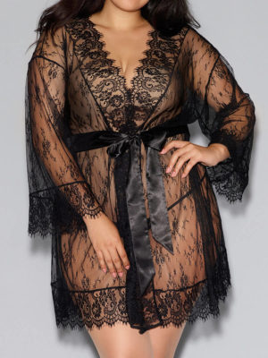 Dreamgirl Eyelash Lace Kimono Robe & Satin Belt (plus Size)