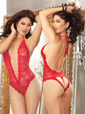 Dreamgirl Naughty Vows Heart Back Teddy (red)