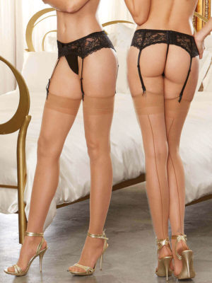 Dreamgirl Moulin Thigh High Seamed Stockings (nude)