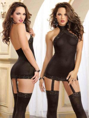 Dreamgirl Moscow Hosiery Garter Dress (black)