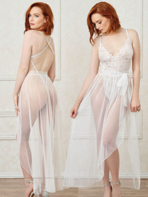 Dreamgirl White Mosaic Lace Teddy & Sheer Tie-front Skirt Set