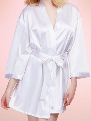 Dreamgirl Satin Charmeuse 'bride' Robe With Front Tie Closure