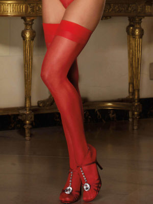Dreamgirl Moulin Thigh High Seamed Stockings (red)