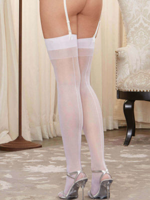 Dreamgirl Moulin Thigh High Seamed Stockings (white)