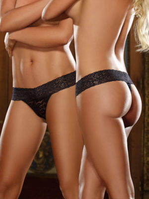 Dreamgirl Stretch Lace Low Rise Thong With Waistband (black)