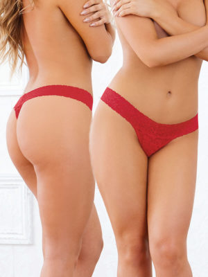 Dreamgirl Stretch Lace Low Rise Thong With Waistband (red)