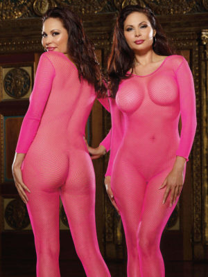 Dreamgirl Amsterdam Fishnet Bodystocking (plus Size – Hot Pink)