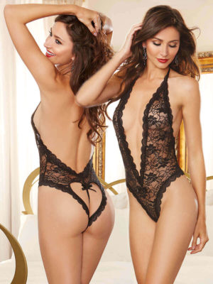 Dreamgirl Naughty Vows Heart Back Teddy (black)