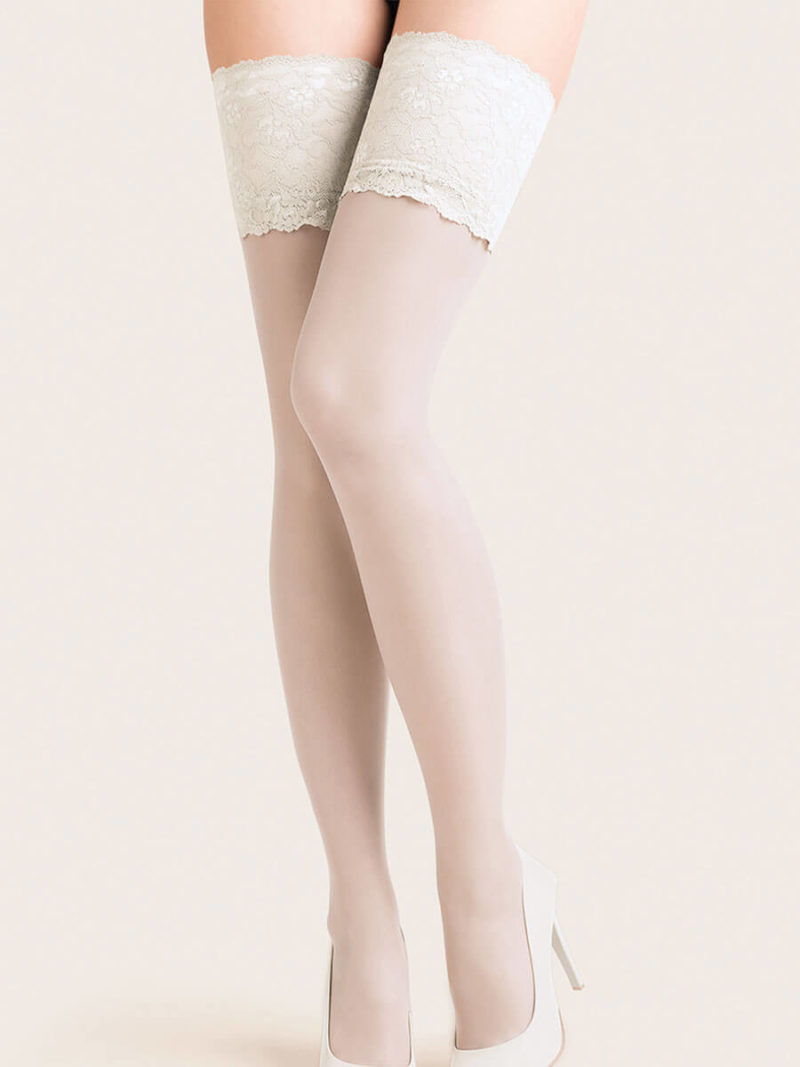 Gabriella Calze Exclusive Wide Lace Top Hold Up Stockings (white)
