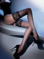 Gabriella Calze Exclusive Wide Lace Top Hold Up Stockings (black)