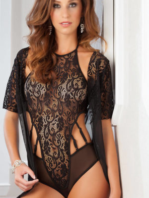 G-world Intimates Lace & Mesh Teddy With Robe Lingerie Set (black)