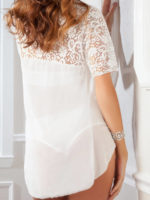 G-world Intimates Lace & Mesh Teddy With Robe Lingerie Set (pearl White)