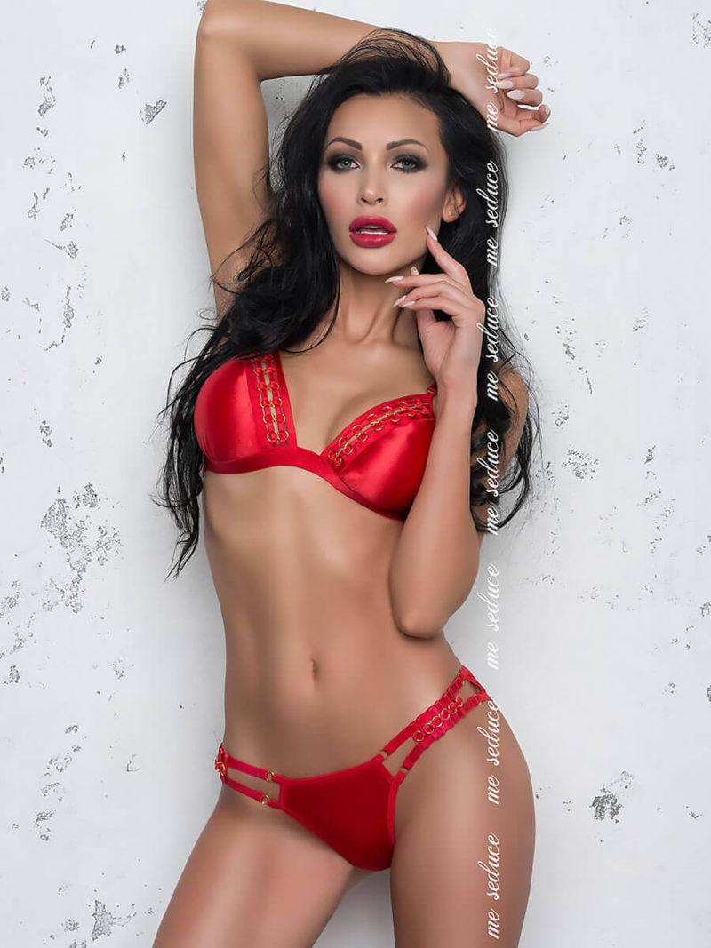 Me Seduce 'isabella' Erotic Fantasy Satin Look Lingerie Set (red)