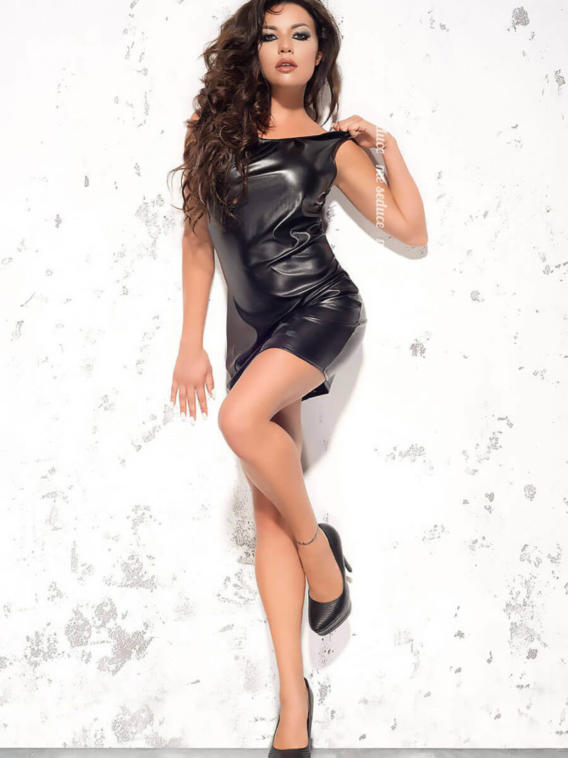 Me Seduce 'lotte' Erotic Fantasy Wet Look Clubwear Dress (black)