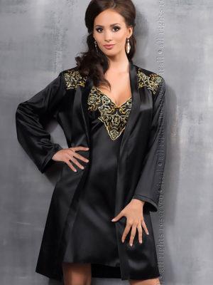 Irall Satin Collection 'luna' Robe (black/gold)