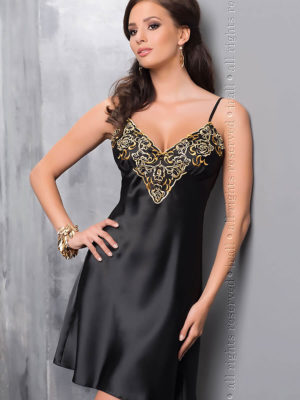 Irall Satin Collection 'luna' Nightdress (black/gold)