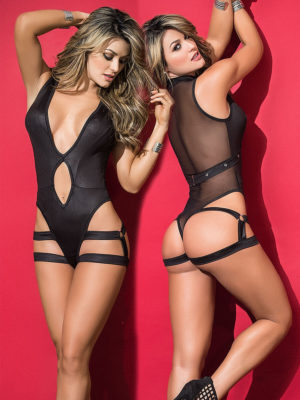 Mapalé Wet Look & Mesh Back Bodysuit And Harness
