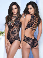 Mapalé Plunging Ribbon & Sheer Lace Teddy