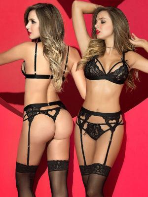 Mapalé Lingerie Heart Lace Bra, Thong & Garter Set (black)