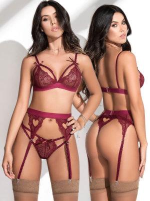 Mapalé Lingerie Heart Lace Bra, Thong & Garter Set (burgundy)