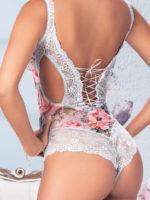 Mapalé Lingerie Shoreline Grey & Flower Print Delicate Lace Teddy