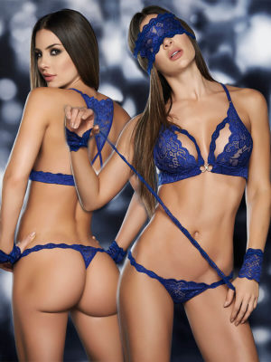 Mapalé Lingerie Lace Top, Panty, Mask And Cuffs 4 Piece Set (blue)