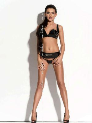 Me Seduce 'arielle' Erotic Fantasy Pvc Wet Look Lingerie Set (black)