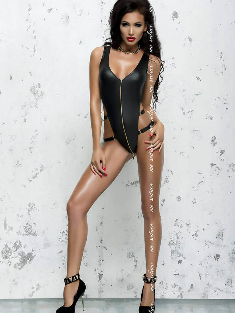 Me Seduce 'blanche' Erotic Fantasy Wet Look Zip Front Body (black)