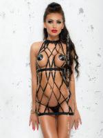Me Seduce 'colette' Erotic Fantasy Wet Look Fence Net Dress (black)