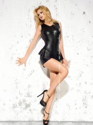 Me Seduce 'debby Short' Erotic Fantasy Wet Look Catsuit (black)