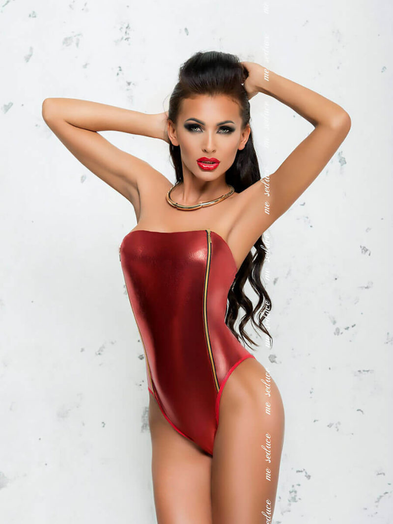 Me Seduce 'fanny' Erotic Fantasy Shiny Strapless Body (red)