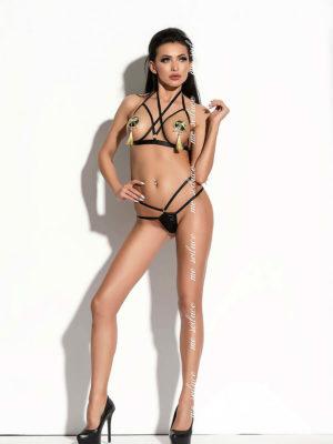 Me Seduce 'ginette' Erotic Fantasy Strappy Open Cup Lingerie Set (black)